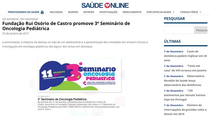 Saúde Online – 3º Seminário de Oncologia Pediátrica